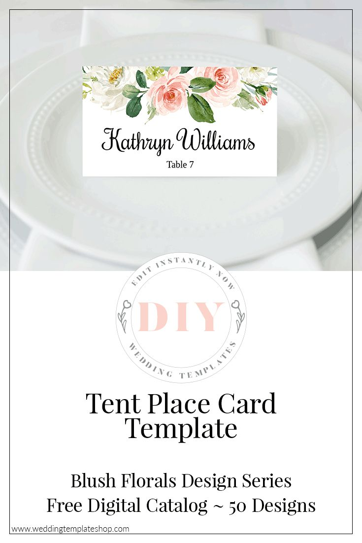 wedding tent place card blush florals edit online