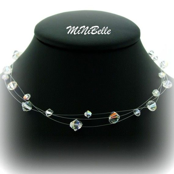 3 filamento de cristal de Swarovski collar de por MiNiBelle en Etsy                                                                                                                                                                                 Más