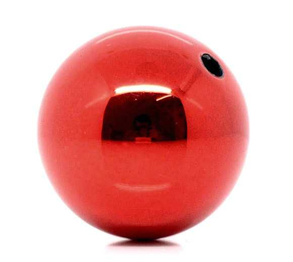 Red Christmas Acrylic Round Beads 20mm, sold per pack of 20