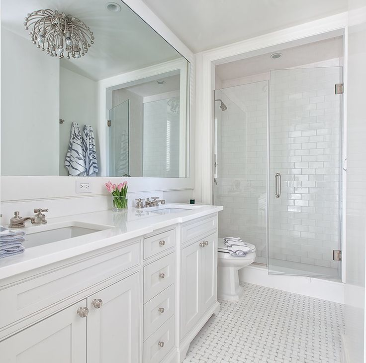 White Glass Subway Tile Bathroom Ideas