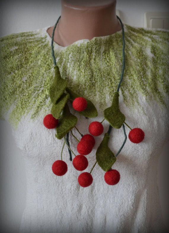 Cherry necklace cherry felt necklace cherry jewelry by Gariana