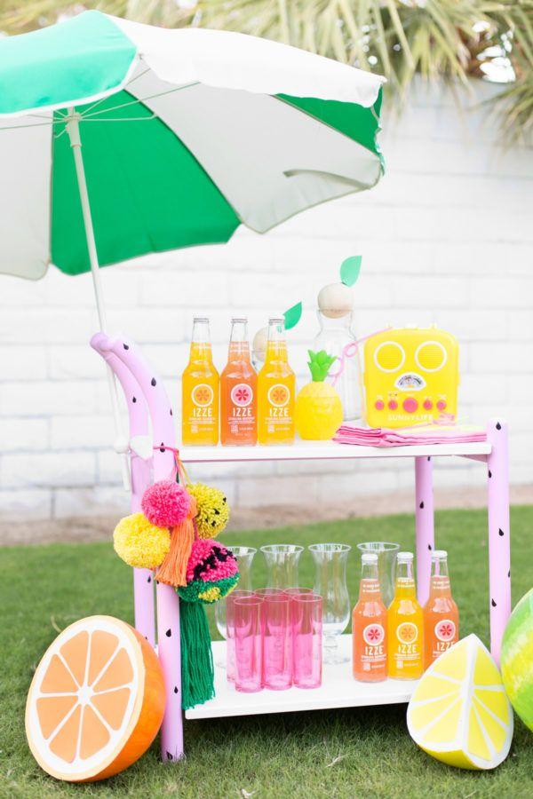 DIY Fruity Summer Bar Cart Makeover with @izzeofficial | studiodiy.com