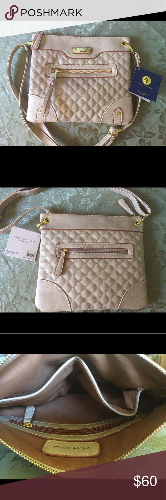 Adrienne Vittadini Pebble Grain Crossbody Adrienne Vittadini Pebble Grain Crossbody, brand new-never used. Light beige color, brown rims, with gold hardware. Shoulder strap adjustable for all sizes. Clean and stylish look. Only two pieces left!!' Adrienne Vittadini Bags Crossbody Bags