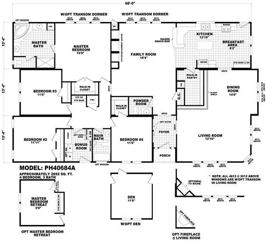 Floor plan ph 40764a pinehurst triplewides homes by for Wide ranch house plans