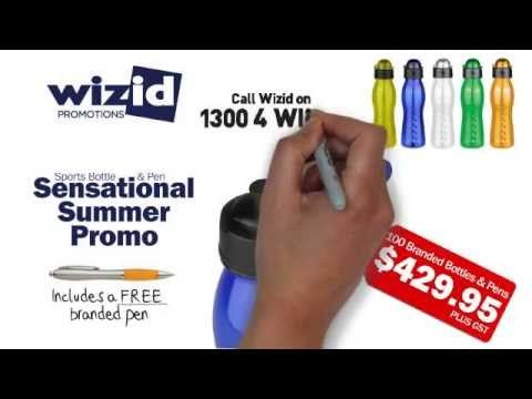 Wizid Promotions Sports Bottle & Pen Combo. This 600ml polycarbonate sports bottle and pen is just the combo to promote your business, sports team or event. Available in a range of eye-catching colours and branded with your logo, club or message. For more information on this great offer call Wizid today on 1300 4 WIZID or our website at  www.wizidpromotions.com.au