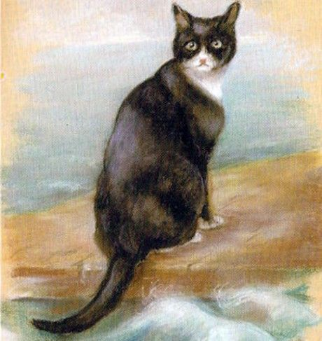 "Unsinkable Sam switched sides from the Nazi to the Allied forces. Survived 3 Ships Sinking in WWII. Pastel portrait ""Oscar, the Bismarck's Cat"" by  Georgina Shaw-Baker @  National Maritime Museum, Greenwich"