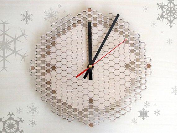Wooden wall clock  Honeycomb regular by AsymmetreeDesign on Etsy, €59.00