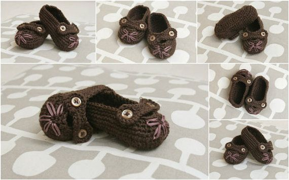 Baby Girl Slippers Booties Crochet PATTERN 0-6 month in PDF - brown