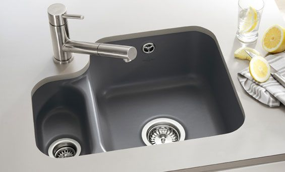 undermount kitchen sink, corner tap