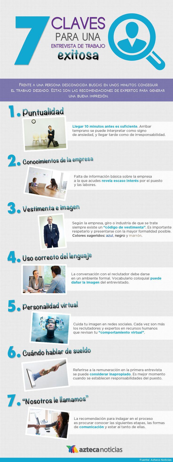 7 claves para una entrevista de trabajo exitosa #infografia