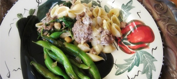 ... Spinach Pasta and Green Beans with Miso Butter | BareWoodenSpoon.com