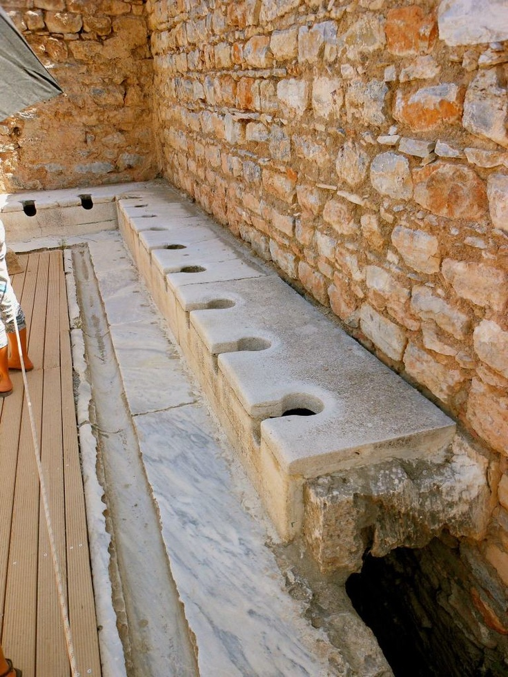 constructed in 1 AD-latrines used only by men in Ephesus