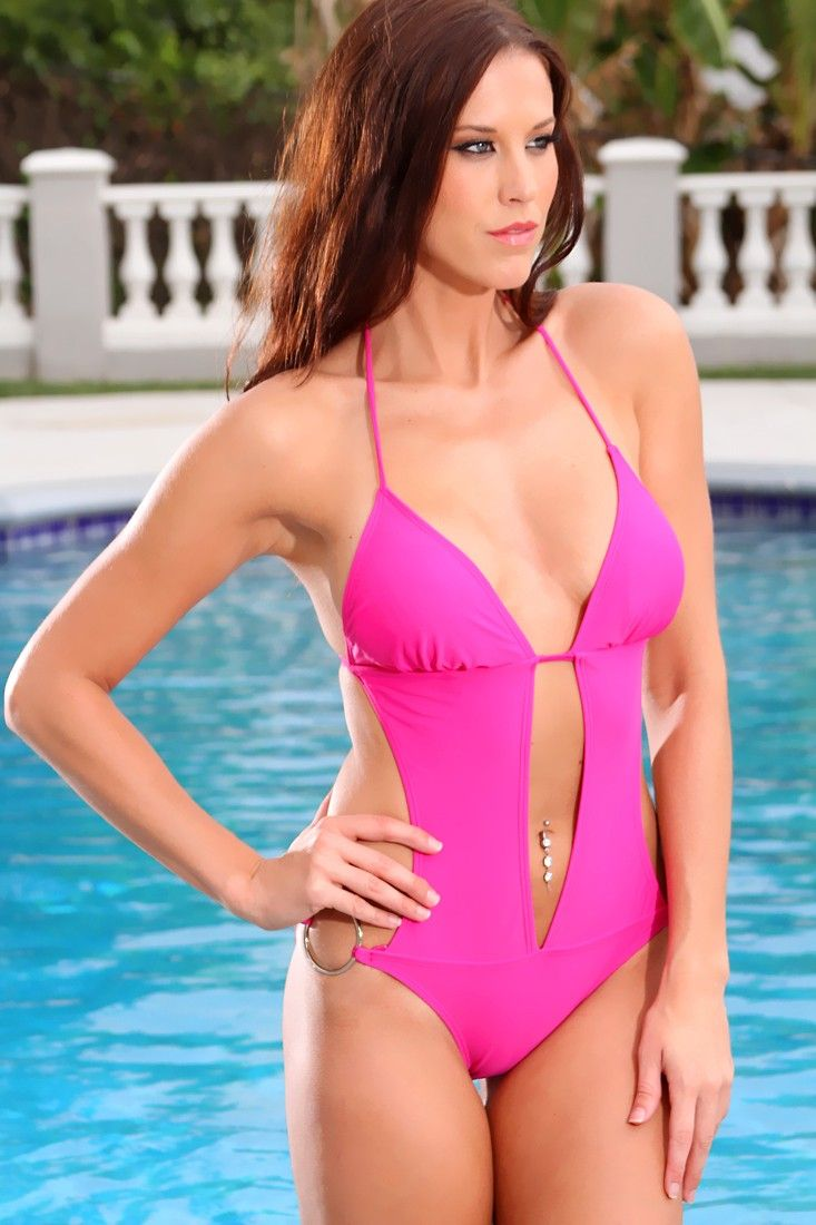 Closet triangle cut out back dress - Fuchsia Side Tie O Ring Accent Pucker Back Monokini