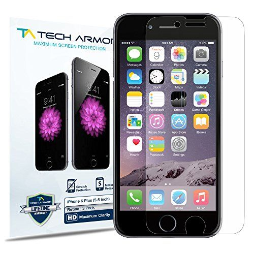 iPhone 6 Plus Screen Protector, Tech Armor Apple iPhone 6 Plus (5.5 inch ONLY) High Defintion (HD) Clear Screen Protectors [3-Pack] Lifetime Warranty Tech Armor http://www.amazon.com/dp/B00NGMVHEW/ref=cm_sw_r_pi_dp_6eW2ub0VSFM8S