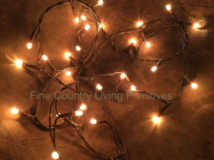 Primitive Country Christmas Teeny Rice String Lights on Brown Cord ~ 50 Count #NaivePrimitive ...