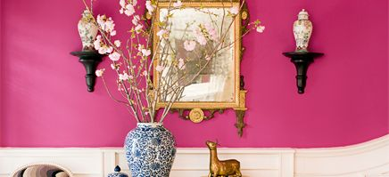 Foyer painted with Benjamin Moore paint color razzle dazzle, 1348
