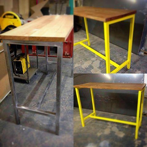 Table High 1:10 iron 40x40 painting Nitro Yellow cedar and topped with 40mm.  Mesa alta 1.10 em ferro 40x40 pintura Nitro Amarela e tampo de cedro com 40mm.