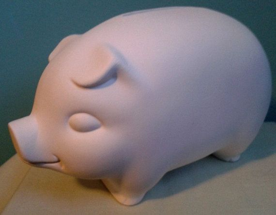 A Traditional PIGGY BANK   Unpainted Ceramics You by MagicalMud, $4.00
