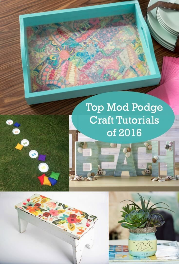 Do you love to Mod Podge? This retro craft is a blast, and it's great for beginners. Here are the top 10 Mod Podge craft tutorials of 2016. via @modpodgerocks
