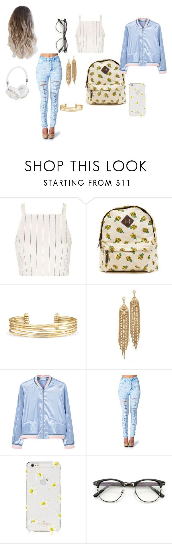 """""""school life"""" by zanthecurtus ❤ liked on Polyvore featuring Topshop, Stella & Dot, Capwell + Co, MANGO, Kate Spade and Frends"""