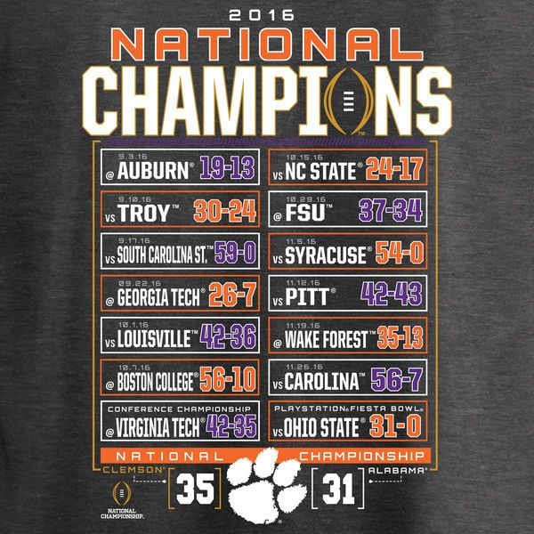 Clemson Tigers Fanatics Branded College Football Playoff 2016 National Champions Big & Tall Schedule T-Shirt - Charcoal - Fanatics.com