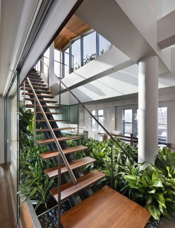 Plant And Pebble Garden Under Stairs