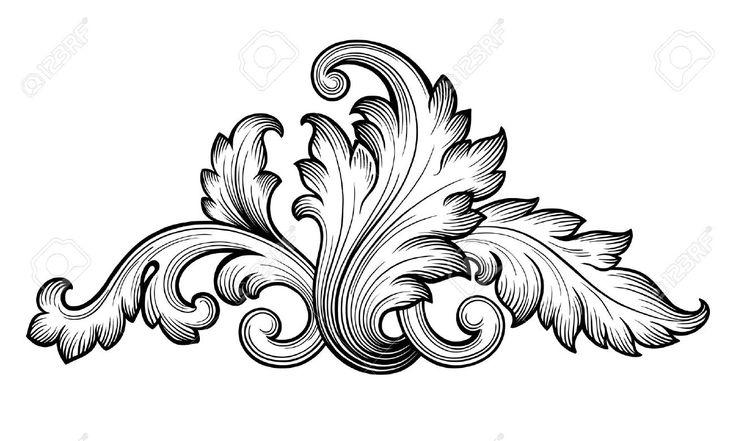 35857740-Vintage-baroque-floral-scroll-foliage-ornament-filigree-engraving-retro-style-design-element-vector-Stock-Vector.jpg (1300×779)
