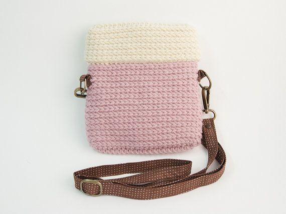 Crochet sac appareil photo Lomo / couleur rose Pastel