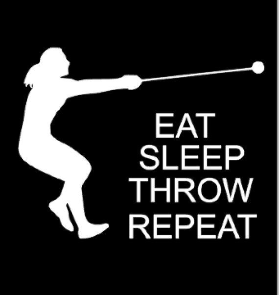 Track Athlete Decal, Female Hammer Thrower Decal, 6x6 High Quality Vinyl designs. All decals are in white unless otherwise specified or