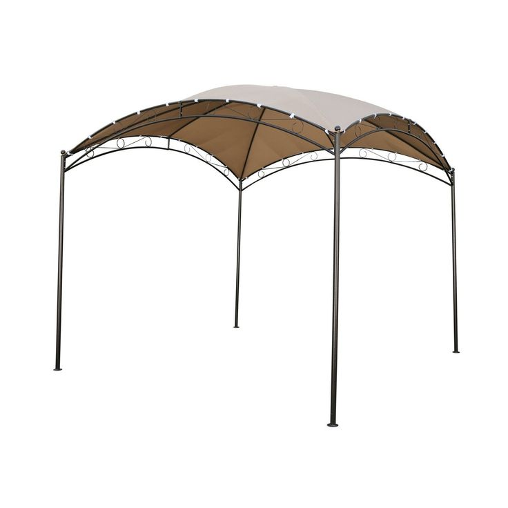 10-FT X 10-FT Dome Top Gazebo Shade Tent With Khaki Canopy