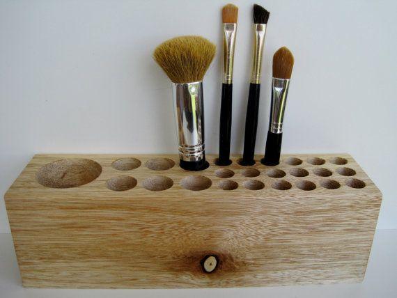 makeup organizer wood. natural rustic mahogany wood desk organizer office pencil small tool caddy holder or makeup - gelato b