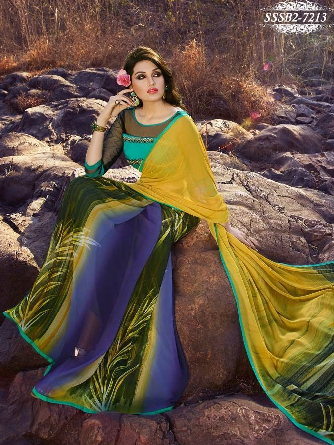 Blue,Green & Yellow Georgette Hand Print Saree With Unstitched Blouse Piece - Printed Sarees - Shop By Type - Sarees