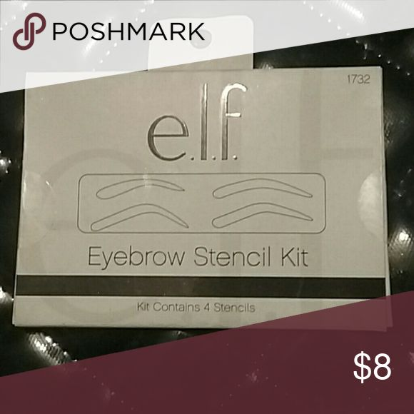 Eye brow stencil kit The eye brow stencil kit by elf contains 4 different reusable eyes brow stencils. This package has never been opened. ELF Makeup Brushes & Tools