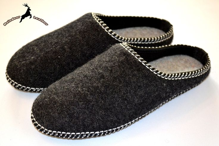 Reindeer Leather Warm Classic Black Slippers