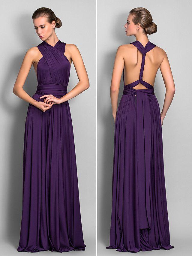 Vestido Convertible Hasta el Suelo con Corte Columna | LightInTheBox