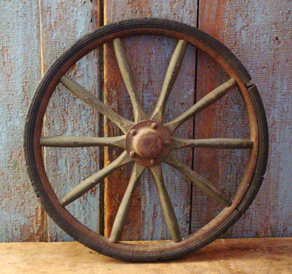 Antique Wagon Wheel Wood Wooden Spokes Log by prairieantiques, $35.00