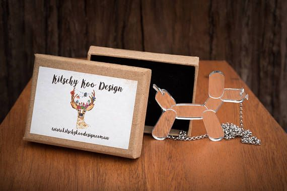 NEW Silver Balloon Dog Necklace or Brooch - Mirror Acrylic