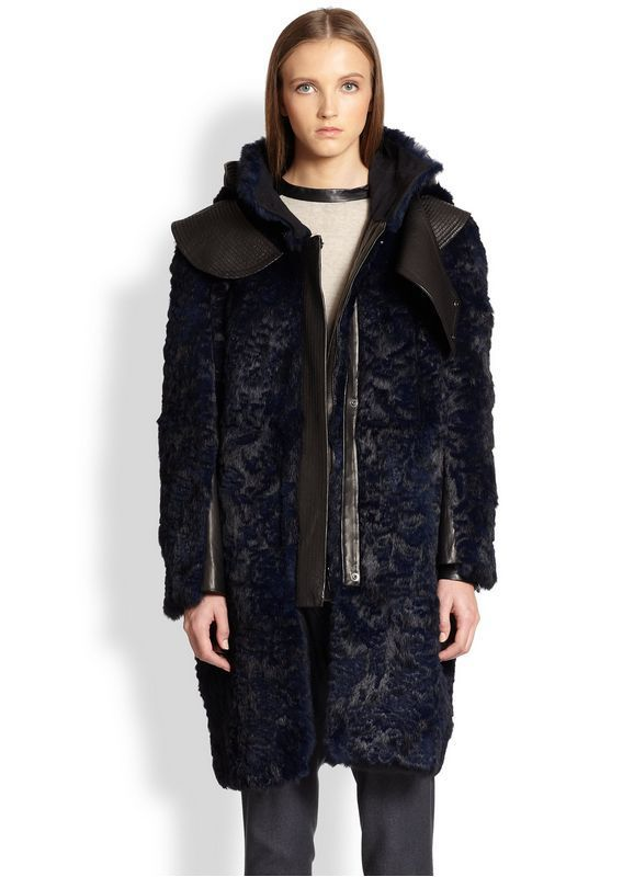 NWOT HELMUT LANG Fontana Blue Rabbit Fur Lamb Leather Runway Coat Parka Anorak M | eBay