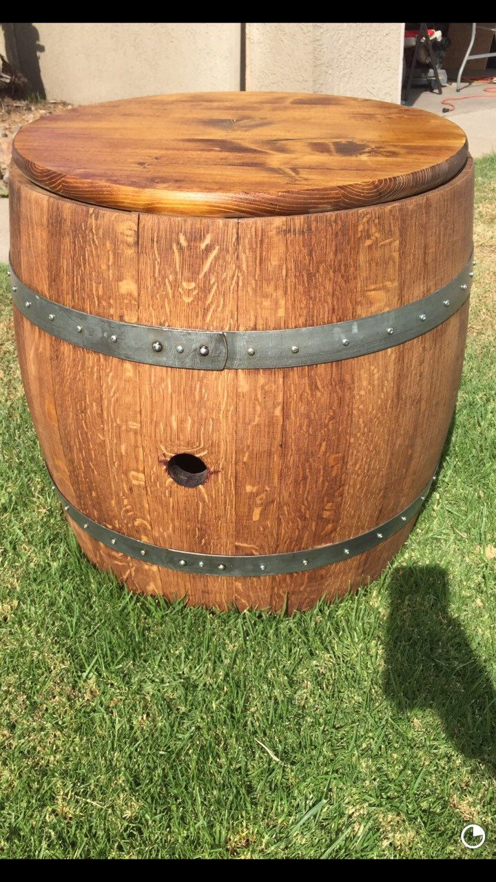 Custom made wine barrel ice chest, Made from recycled red wine barrels