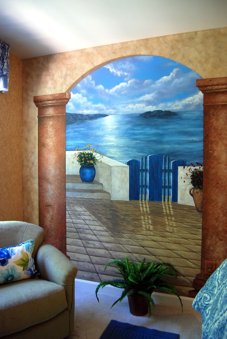 Santorini Greece Mural in a bedroom by Tom Taylor of Wow Effects. The mural was hand painted in a Northern Virginia home.