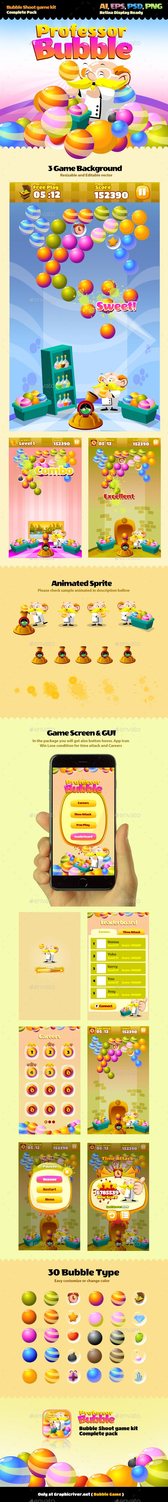 Bubble Game — Photoshop PSD #casual #easy game • Download ➝ https://graphicriver.net/item/bubble-game/10123614?ref=pxcr