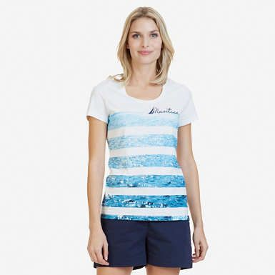 Water Striped Graphic T-Shirt