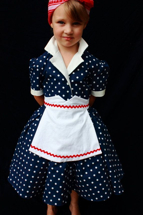 I Love Lucy, blue polka dot shirt dress with apron. This is an adorable Blue polka dot shirt dress, with white collar and sleeve cuffs, the