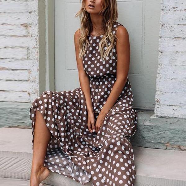 Plus Size Womens Summer Polka Dot Midi Dress Ladies Sleeveless Beach Sundress