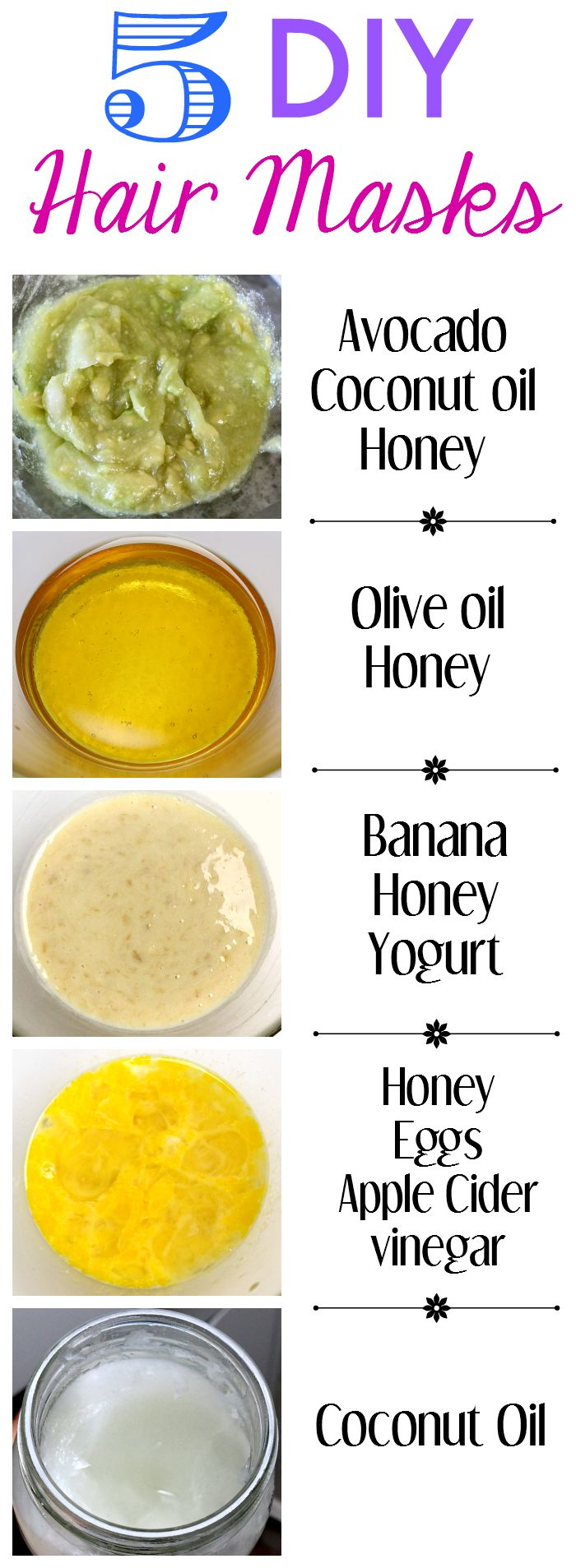 5 simple DIY hair mask recipes with three or less ingredients. http://www.peekandponder.com/2014/05/5-diy-hair-masks.html