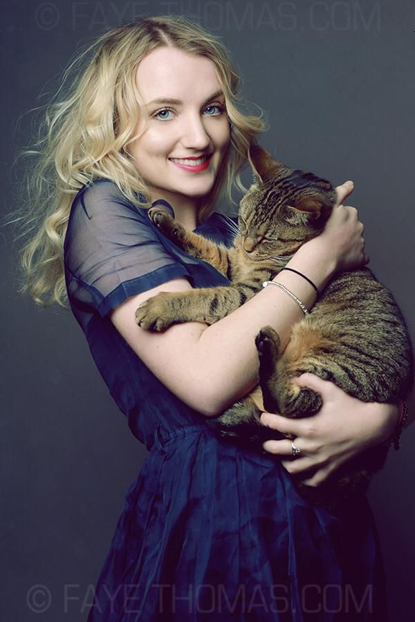 Evana Lynch (Luna Lovegood from the Harry Potter movies) with her cat, Catz. Photography by Faye Thomas.
