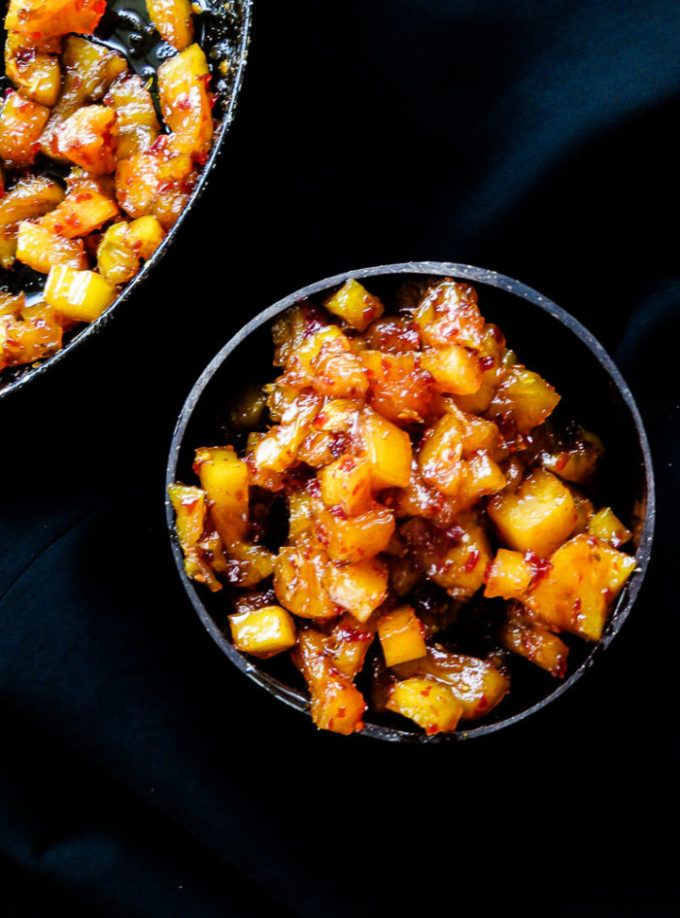 """This Sri Lankan pineapple chutney is what we call a """"rice puller""""but can even include them in your burgers or tacos, it's versatile that way."""
