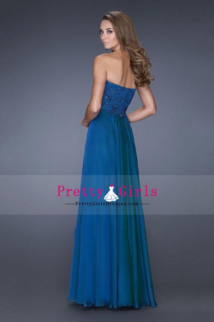 2015 New Arrival PrettyA-Line Floor-Length Chiffon Sweetheart Pleated Bodice Evening Dresses With Applique CAD 184.71 PGDPSFNYYG8 - PrettyGirlsDresses.com