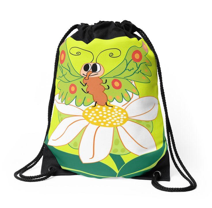 Butterfly on flower cute cartoon by siwabudda