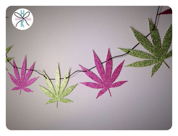 Pot Leaf Glitter Banner Marijuana Wall Decor Stoner Chick Cannabis 420 710 Weed Party Bunting Pink Green